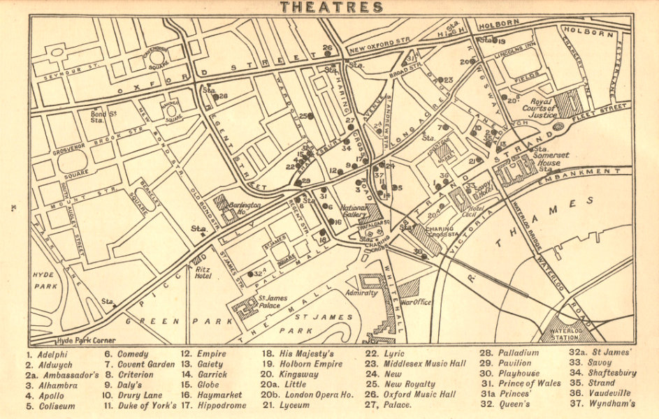 Shaftesbury Avenue Map WEST END THEATRES. Covent Garden Shaftesbury Avenue &c 1917 old