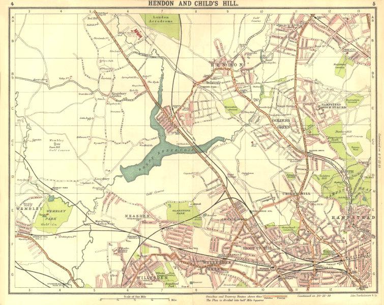 Associate Product LONDON N.Hendon Childs Hill Hampstead Wembley Golders Green Willesden 1917 map