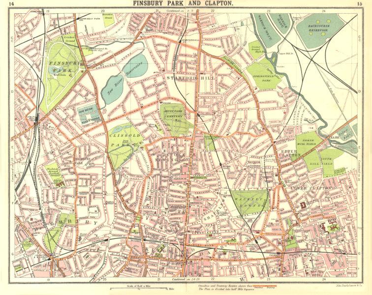 LONDON N.Finsbury Park Clapton Highbury Stamford Hill Dalston 1917 old map