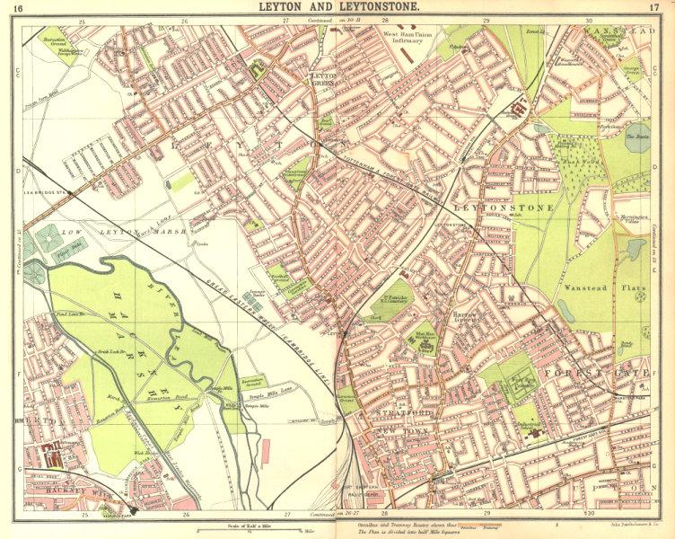 Associate Product LONDON NE. Leyton Leytonstone Stratford Forest Gate Wanstead Hackney 1917 map