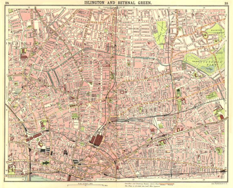 Associate Product LONDON E.Islington Bethnal Green Hoxton City Stepney Shadwell Hackney 1917 map