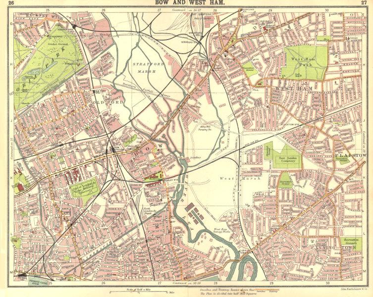 Associate Product LONDON E. Bow West Ham Bromley Stratford Plaistow Poplar Canning Town 1917 map