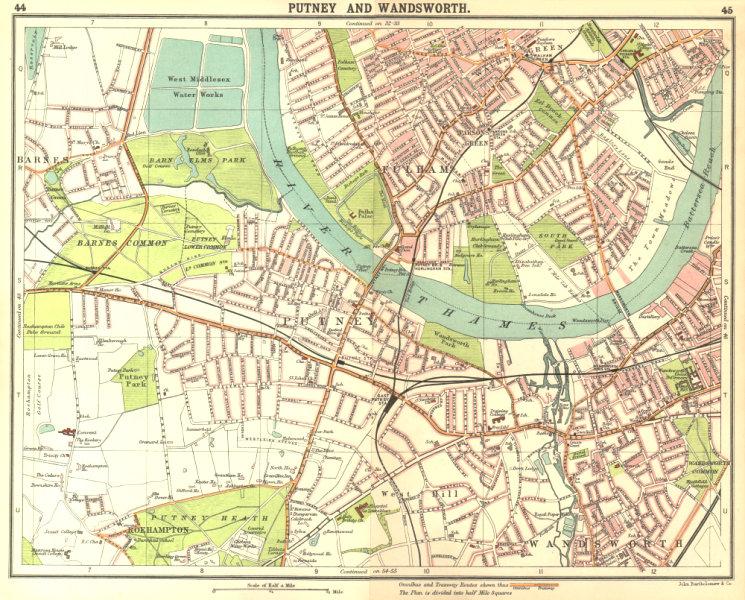 Associate Product LONDON SW. Putney Wandsworth Fulham Barnes Parson's Green Roehampton 1917 map