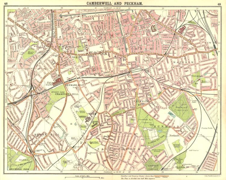Associate Product LONDON S.Camberwell Peckham Denmark/Herne Hill Dulwich New Cross Gate 1917 map