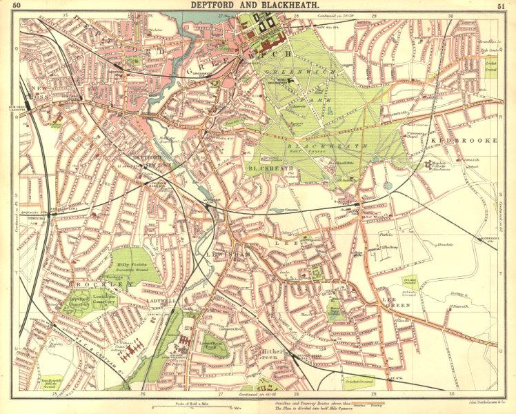 LONDON SE. Deptford Blackheath Greenwich Kidbrooke Brockley New Cross 1917 map