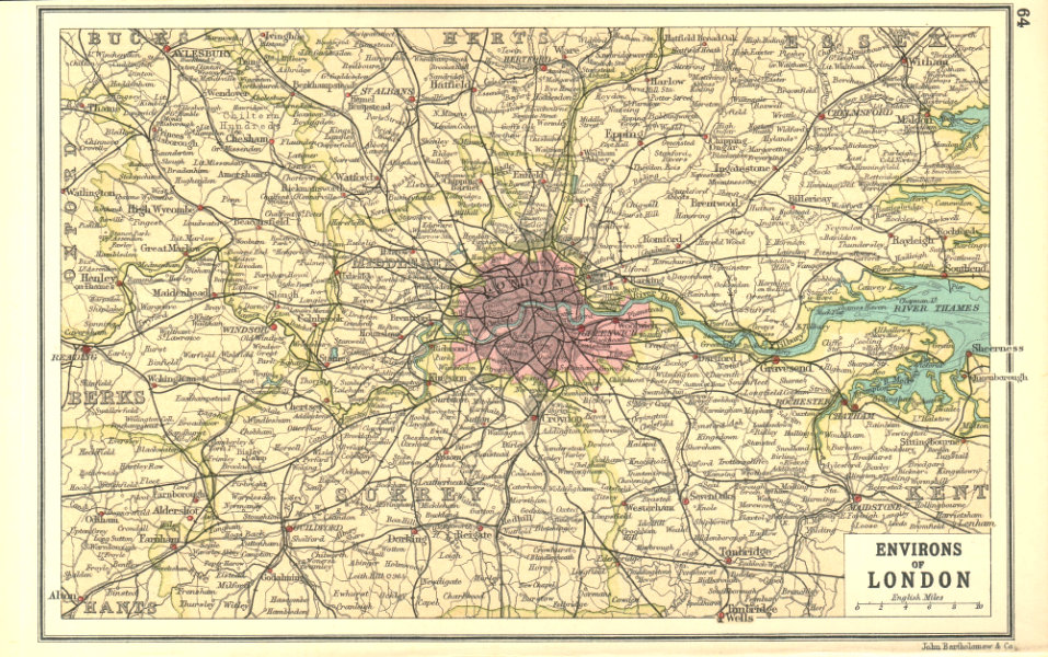 Associate Product LONDON & HOME COUNTIES. Railways & roads. BARTHOLOMEW 1917 old antique map