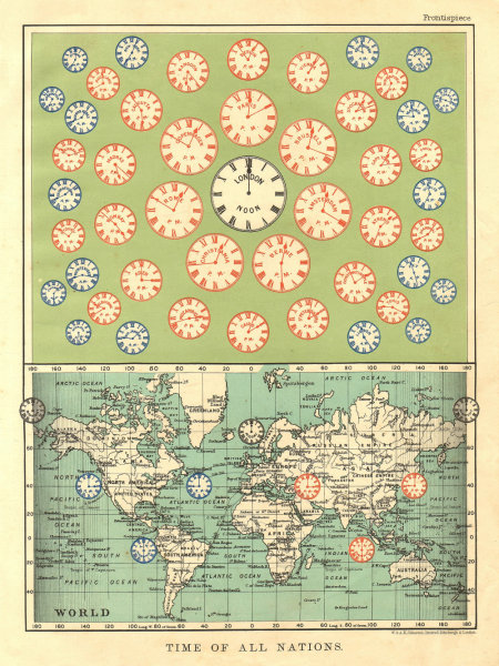 Associate Product TIME OF ALL NATIONS. predates UTC/standard hourly time zones.  JOHNSTON 1906 map