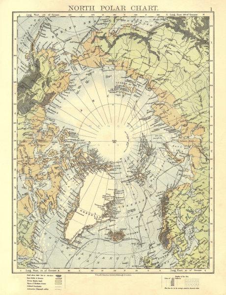 Associate Product NORTH POLAR CHART. Explorers' routes Nansen 1895 Abruzzi 1900. JOHNSTON 1906 map