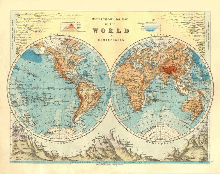 Associate Product WORLD TWIN HEMISPHERES. Relief. Mountains. Rivers.  JOHNSTON 1906 old map