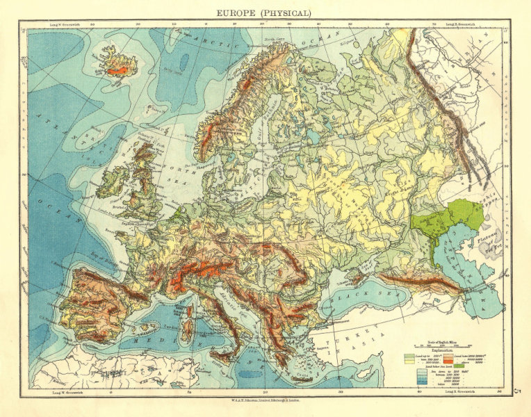 Associate Product EUROPE PHYSICAL. Relief Ocean depths Key mountains Plains.  JOHNSTON 1906 map