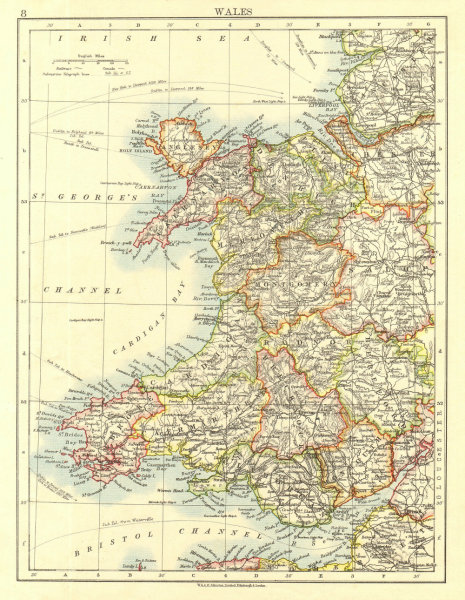 Associate Product WALES. Showing counties. Telegraph cables.  JOHNSTON 1906 old antique map