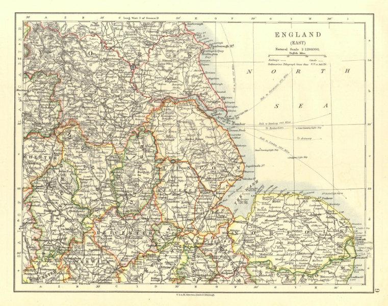Associate Product EAST ENGLAND. Lincs Norfolk Leics Notts Staffs Derbys Yorks.  JOHNSTON 1906 map