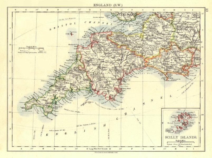 Associate Product SOUTH WEST ENGLAND.Devon Cornwall Dorset Somerset.Telegraphs. JOHNSTON 1906 map