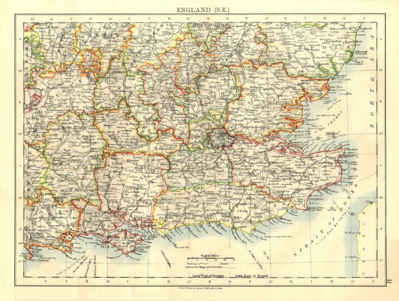 Associate Product SOUTH EAST ENGLAND. Home counties. Thames valley & estuary.  JOHNSTON 1906 map