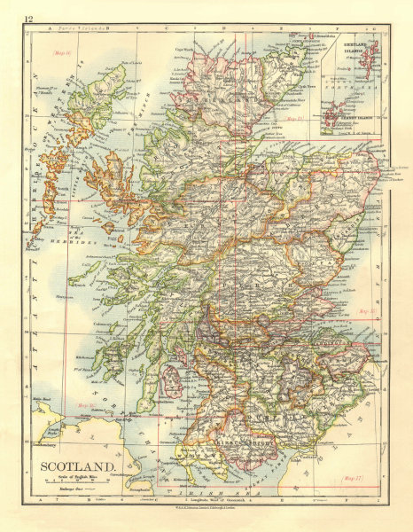 Associate Product SCOTLAND. Counties. Undersea telegraph cables.  JOHNSTON 1906 old antique map