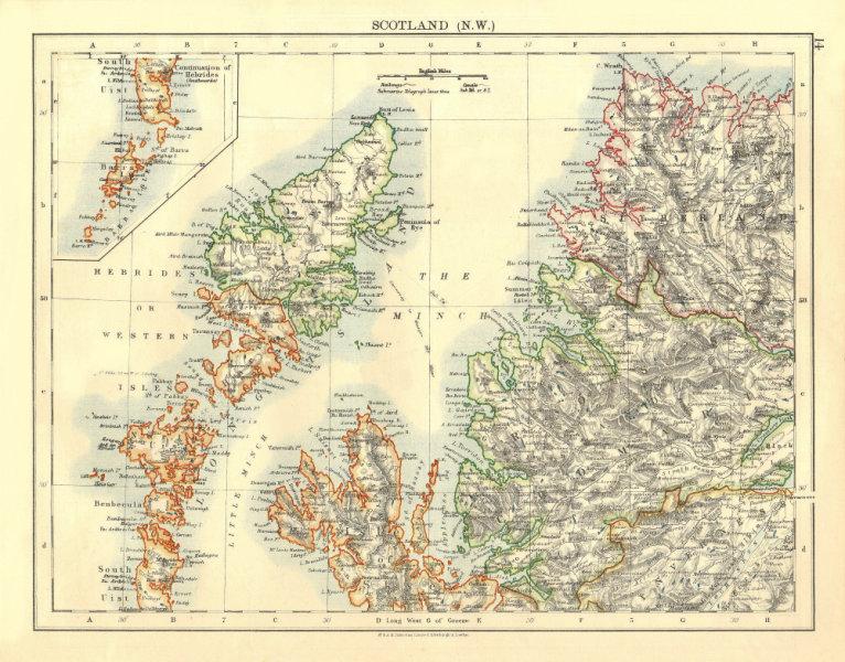 Associate Product HEBRIDES. Skye Harris Lewis Uist Cromarty Highlands Scotland.  JOHNSTON 1906 map