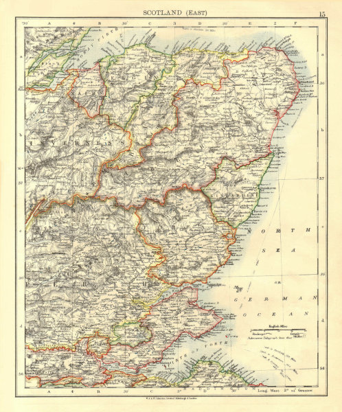 Associate Product SCOTLAND EAST. Grampian Tayside Fife Firth of Forth Aberdeen. JOHNSTON 1906 map