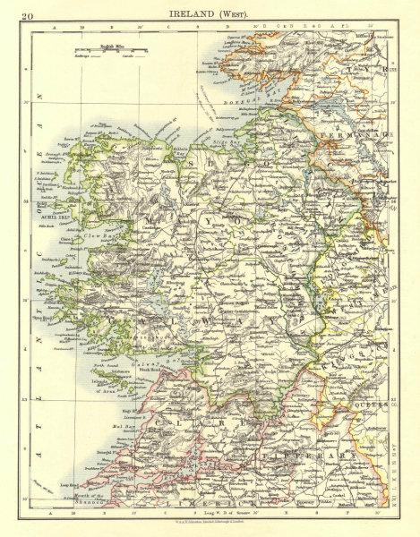 Associate Product CONNACHT CONNAUGHT. Galway Mayo Sligo Leitrim. West Ireland.  JOHNSTON 1906 map