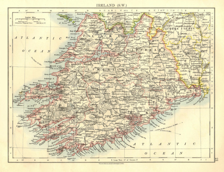Associate Product MUNSTER.  Clare Cork Kerry Limerick Waterford &c.SW Ireland.  JOHNSTON 1906 map