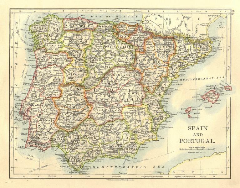 Associate Product SPAIN AND PORTUGAL. Iberia. Provinces railways. Balearics.  JOHNSTON 1906 map