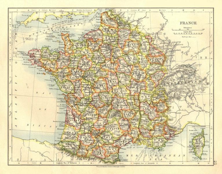 Associate Product FRANCE. German Alsace & Lorraine. Undersea telegraph cables.  JOHNSTON 1906 map
