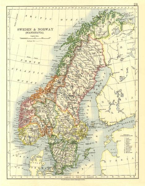 Associate Product SCANDINAVIA. Sweden Norway.Railways Undersea telegraph cables. JOHNSTON 1906 map