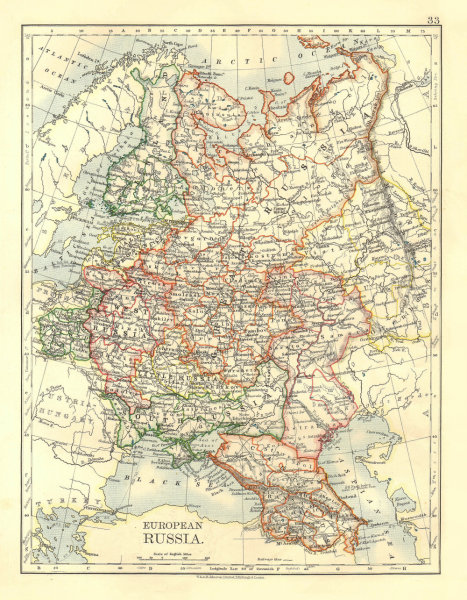 Associate Product EUROPEAN RUSSIA. Shows Great/Little/West/South Russia.Poland. JOHNSTON 1906 map