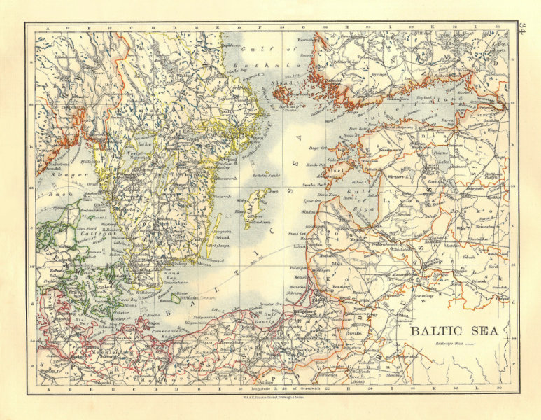Associate Product BALTIC SEA. Sweden Prussia Denmark Livonia Courland Finland.  JOHNSTON 1906 map