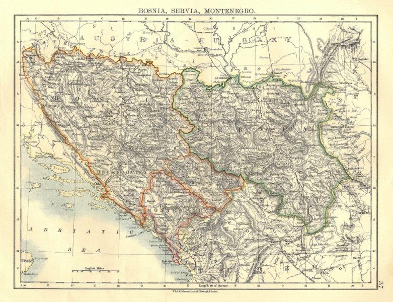 Associate Product BOSNIA SERVIA MONTENEGRO. Balkans Croatia Serbia Herzegovina. JOHNSTON 1906 map