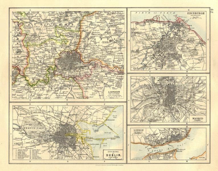 Associate Product EUROPEAN CITIES. London Edinburgh Madrid Lisbon Dublin.  JOHNSTON 1906 old map