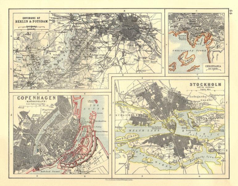 Associate Product EUROPEAN CITIES. Berlin Copenhagen Stockholm Christiania/Oslo. JOHNSTON 1906 map