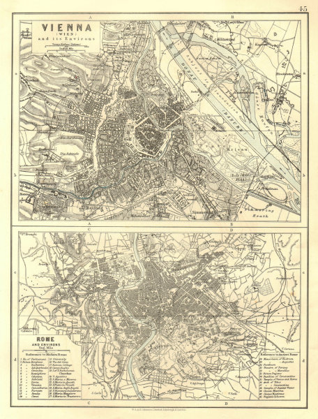 Associate Product VIENNA & ROME. City plans. Wien. Roma. Austria. Italy.  JOHNSTON 1906 old map