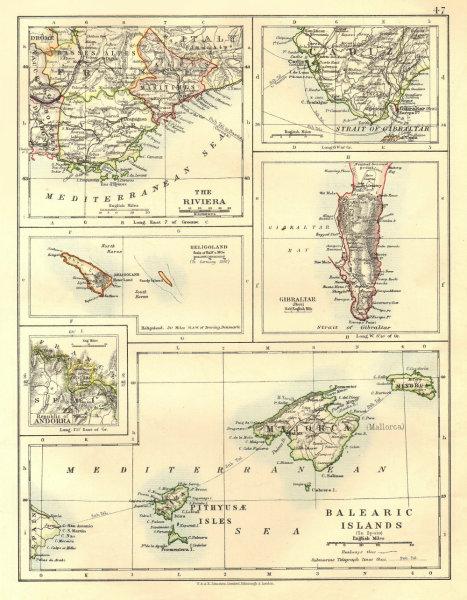 Associate Product EUROPE.Balearic islands.Heligoland Gibraltar Andorra Riviera. JOHNSTON 1906 map