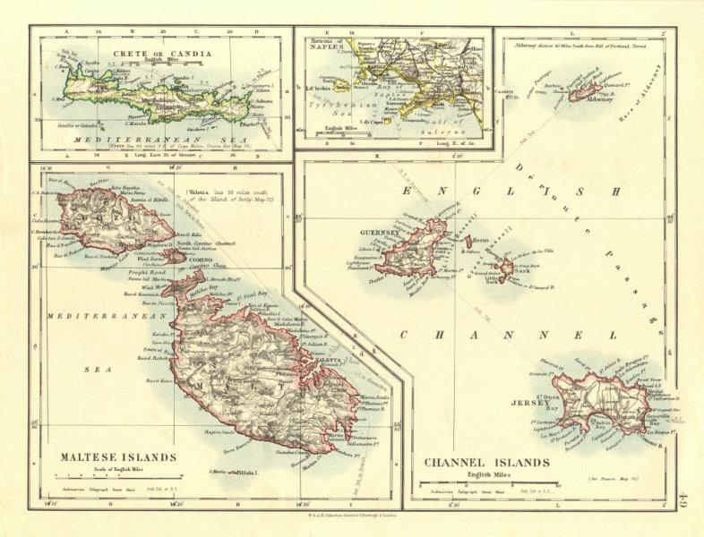 Associate Product EUROPEAN ISLANDS.Malta Gozo Crete Capri Jersey Guernsey Sark.  JOHNSTON 1906 map