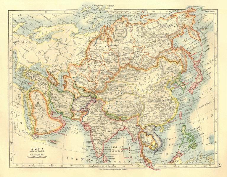 Associate Product ASIA POLITICAL. Persia Siam Hejaz China Japan Corea Turkestan. JOHNSTON 1906 map