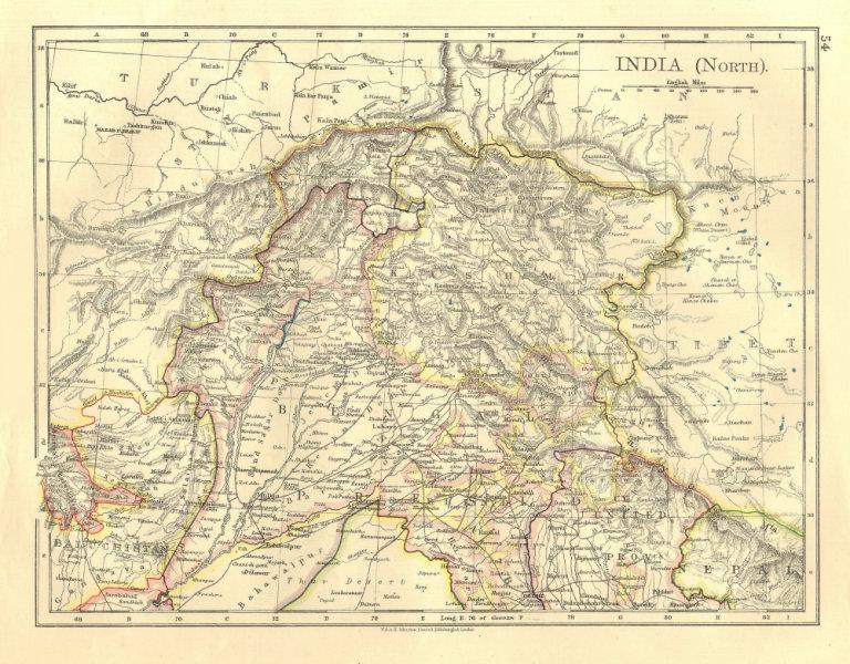 Associate Product BRITISH INDIA NORTH. Jammu Kashmir Punjab Himalayas.  JOHNSTON 1906 old map