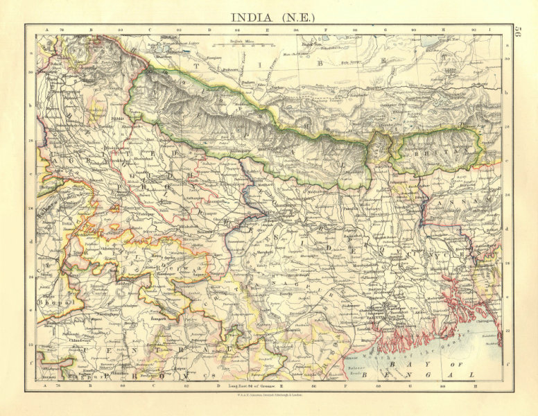 Associate Product BRITISH INDIA NE. Bengal Nepal Bhutan Calcutta Bangladesh.  JOHNSTON 1906 map