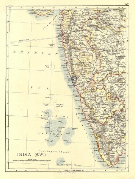 Associate Product BRITISH INDIA SW.Bombay Mysore Malabar Coast Lakkadives.  JOHNSTON 1906 map