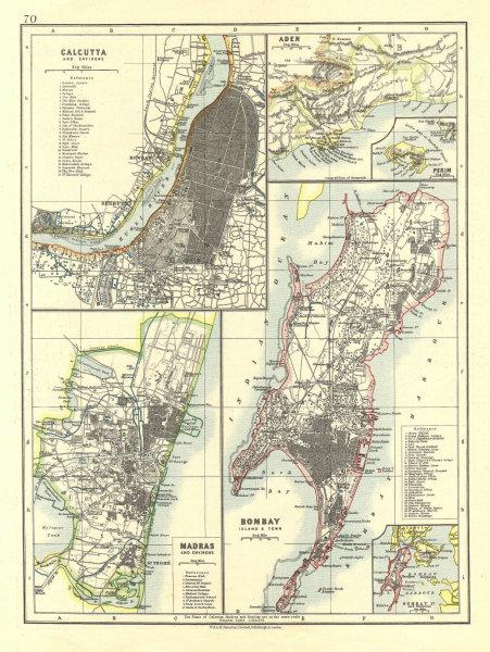 Associate Product BRITISH INDIA CITIES. Calcutta Kolkata Madras Chennai Bombay Mumbai 1906 map