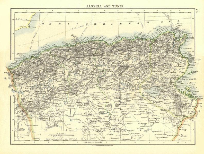 Associate Product ALGERIA & TUNIS. Maghreb Tunisia. Provinces. Telegraph cables. JOHNSTON 1906 map