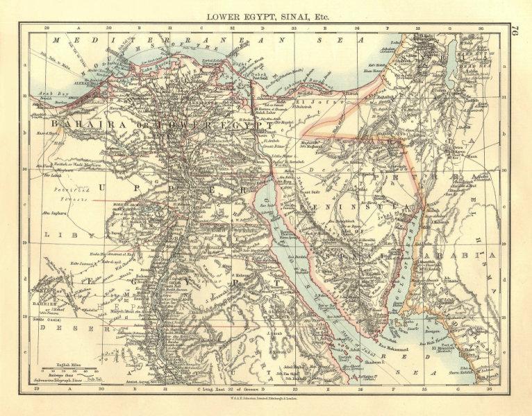 Associate Product LOWER EGYPT & SINAI. Provinces. Nile valley/delta. Railways.  JOHNSTON 1906 map