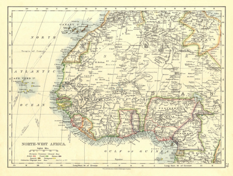 Associate Product COLONIAL WEST AFRICA. Tribal areas. Caravan routes. Niger Coast Prot. 1906 map