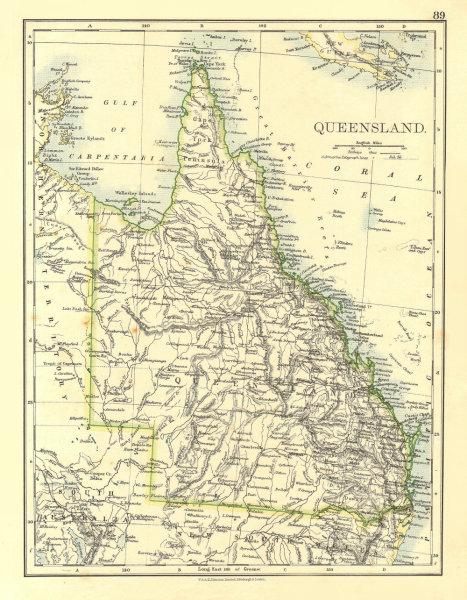 QUEENSLAND. State map Brisbane Gold Coast Railways. Australia.  JOHNSTON 1906
