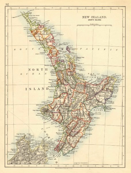 Associate Product NORTH ISLAND NEW ZEALAND. Showing counties telegraph cables.  JOHNSTON 1906 map