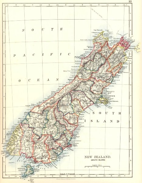 Associate Product SOUTH ISLAND NEW ZEALAND. Showing counties. Telegraph cables.  JOHNSTON 1906 map