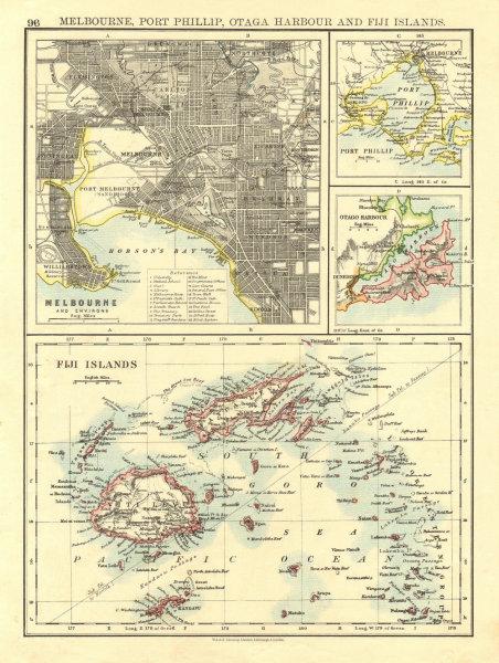 Associate Product AUSTRALASIA. Melbourne plan. Fiji Viti/Vanua Levu. Otago Port Phillip 1906 map