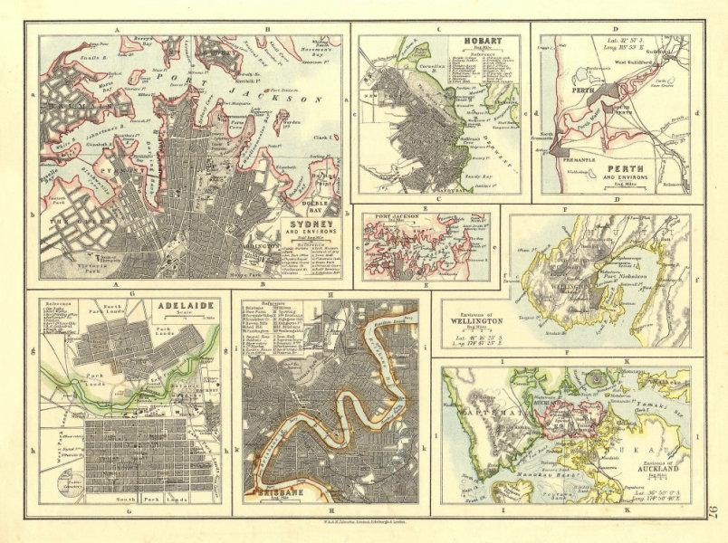 Associate Product AUSTRALIA NZ CITIES. Sydney Hobart Perth Adelaide Brisbane Auckland 1906 map