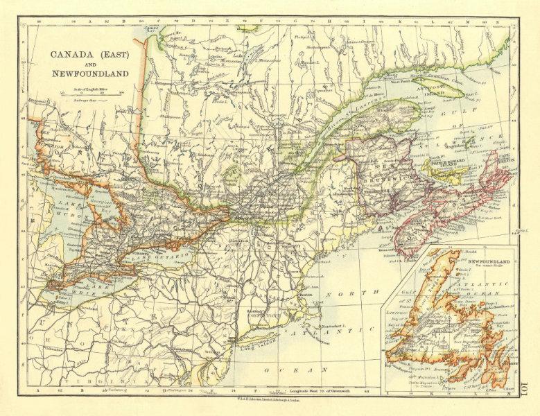 Associate Product EASTERN CANADA. Ontario Quebec Maritime Provinces NB PE NS.  JOHNSTON 1906 map