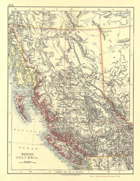 Associate Product BRITISH COLUMBIA. Province map. Railroads. Vancouver island.  JOHNSTON 1906