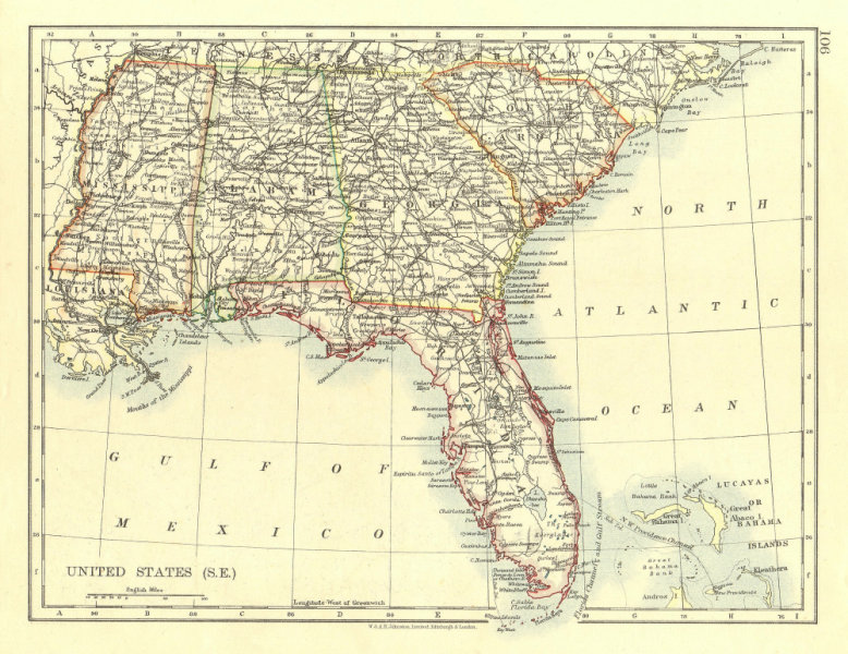 Associate Product USA DEEP SOUTH. Florida South Carolina Georgia Alabama Mississippi USA 1906 map
